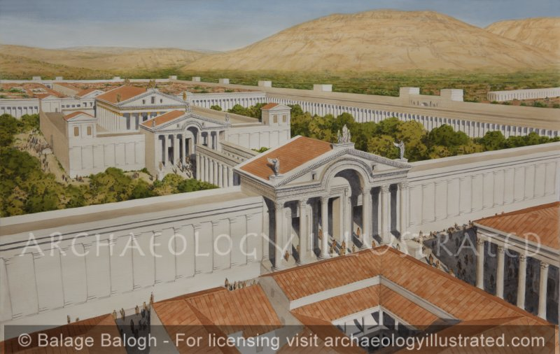 Roman Damascus, The Great Temple of Jupiter and Hadad, 2nd century AD, Looking Northwest in the Morning - Archaeology Illustrated