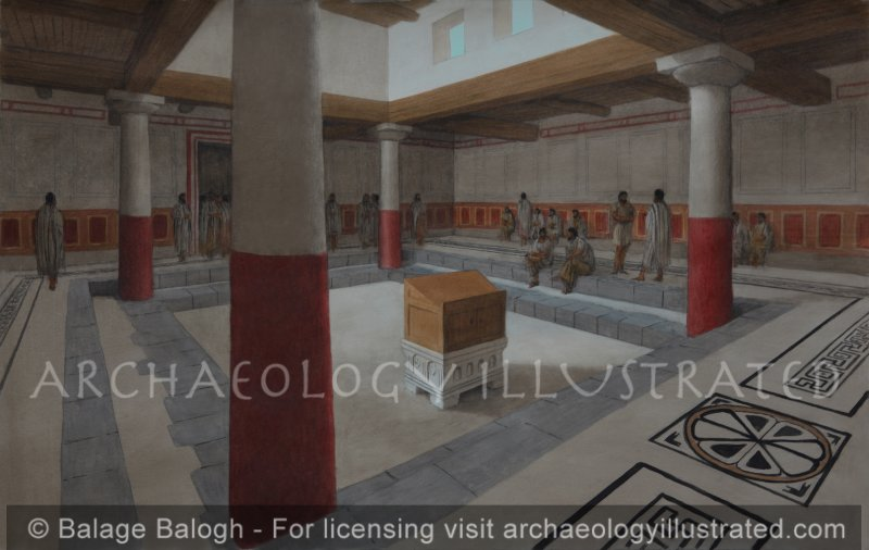"""The Reconstruction of the Magdala Synagogue, 1st century AD. Possibly a shul where Yoshua bar Miriam gave a """"Davar"""" or two. - Archaeology Illustrated"""