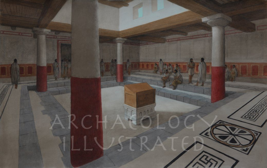 "The Reconstruction of the Magdala Synagogue, 1st century AD. Possibly a shul where Yoshua ben Miriam gave a ""Davar"" or two. - Archaeology Illustrated"