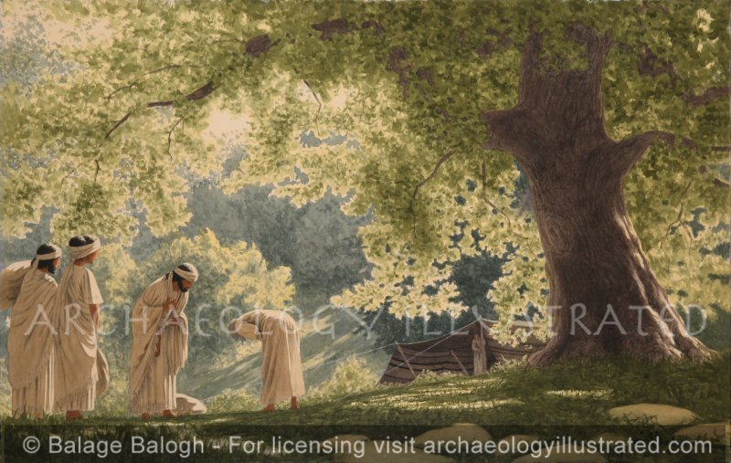 Abraham Receives Three Angels at his Tent in the Oak Grove of Mamre Near Hebron (Genesis 18) - Archaeology Illustrated