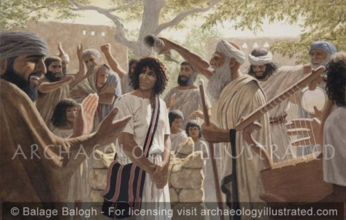 The Prophet Samuel Anoints David, a Teenager, among his Family in Bethlehem to be King over Israel - Archaeology Illustrated