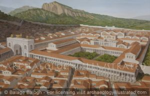 Sardis, The Great Bath House and Gymnasium on the Main Cardo, 2nd century AD.  The Synagogue is in the Basilica on the Left Wing - Archaeology Illustrated