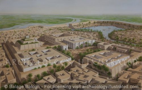 Ur, Mesopotamia. The Cult Center with the Royal Palaces and the Ziggurat in the 19th century BC. Looking North - Archaeology Illustrated