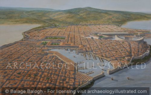 Miletus and its Harbors, Aerial View of the City Looking South, Roman Period - Archaeology Illustrated