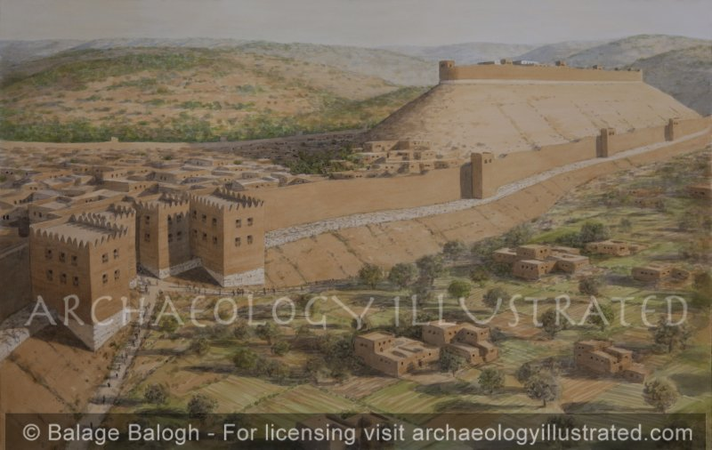 Sodom (Tall el-Hammam) On the Plain of Moab, East of Jericho, in the Middle Bronze Age, Looking North, based on the work of Dr. S. Collins - Archaeology Illustrated