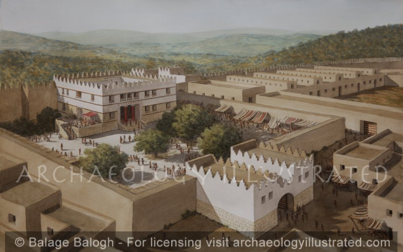 Megiddo, The Royal Palace, 9-8th Century BC, Stratum IV and V,  Looking Southwest - Archaeology Illustrated