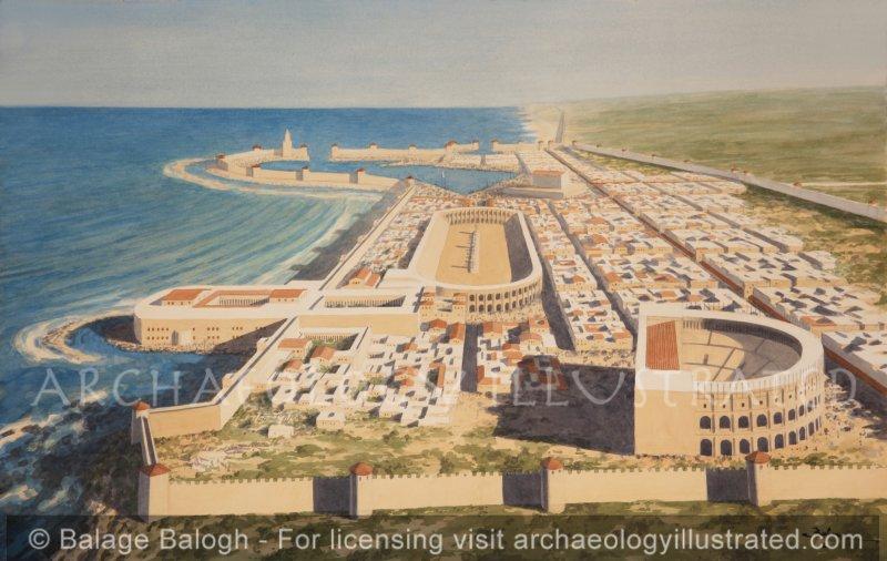 Caesarea Marítima, Looking North, 1st-2nd Centuries AD - Archaeology Illustrated
