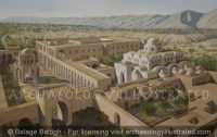 Hisham's Palace, The Byzantine Period City of Jericho and the Ancient Tell of Jericho in Background, Umayyad Period, around 730 AD, Looking South-SW - Archaeology Illustrated