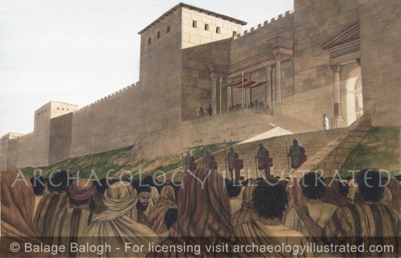 Jesus Before Pilate, Outside Herod's Palace by the Western City Walls of Jerusalem, According Shimon Gibson's Interpretation - Archaeology Illustrated