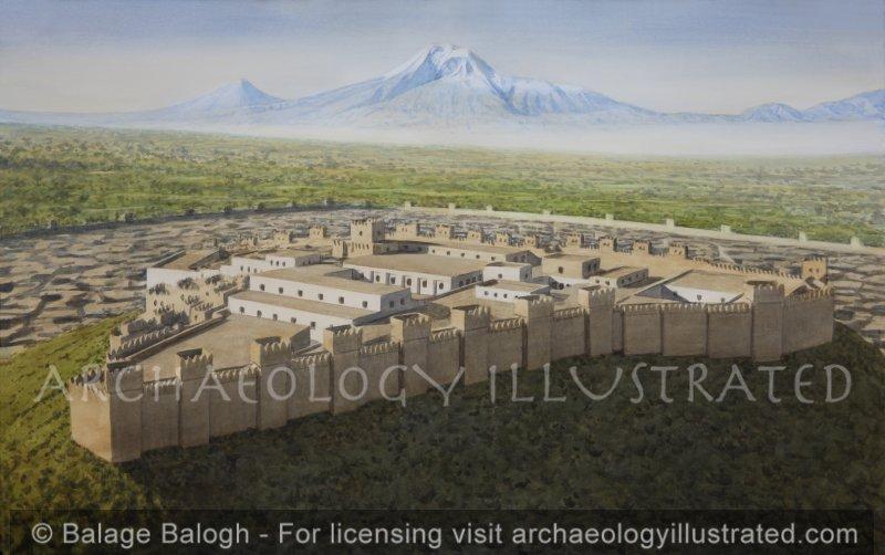 Erebuni, Ancient Yerevan, Capital of Armenia, and Mount Ararat, Kingdom of Urartu, in the 6-5th century BC, Persian Period, Facing Southwest - Archaeology Illustrated