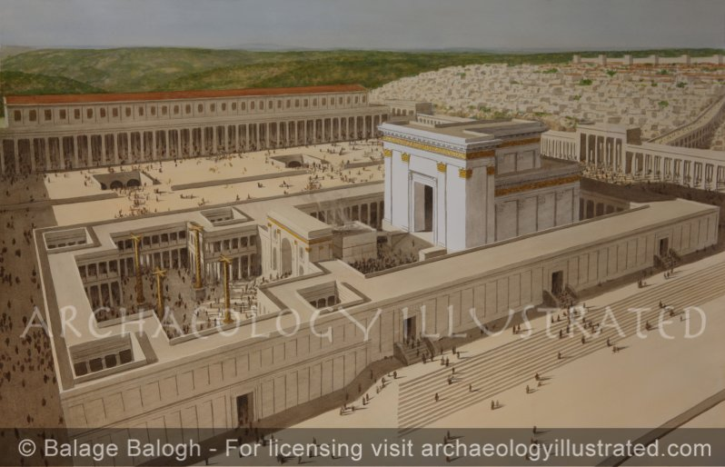 Jerusalem, The Tempe of Herod the Great, The Second Temple, The Beth-haMikdash in Morning Light, 1st century AD - Archaeology Illustrated