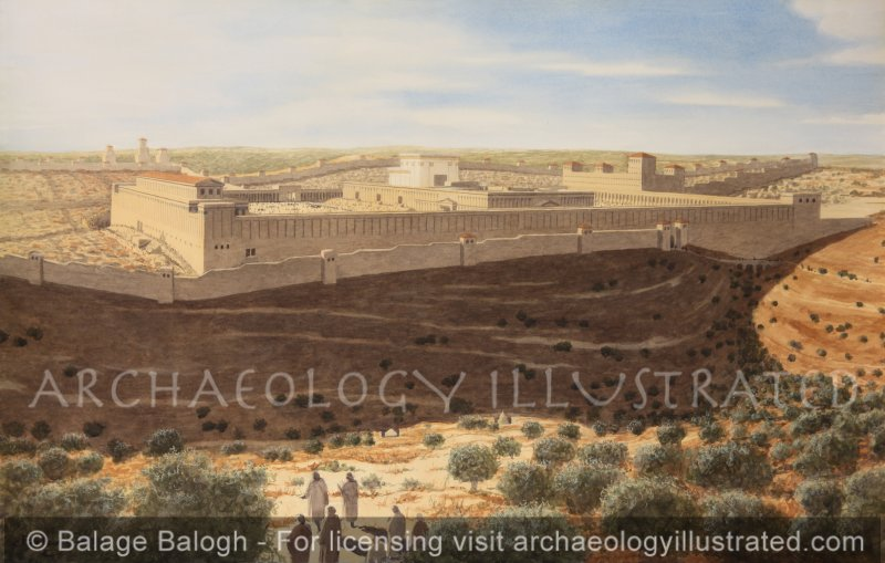 Jerusalem, the Temple Mount and the Temple of Herod from the Mount of Olives in Late Afternoon Lights, 1st century AD - Archaeology Illustrated