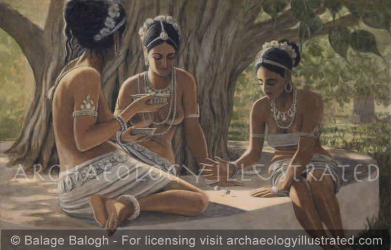 Ladies of Mathura Playing Dice, Gupta Period - Archaeology Illustrated