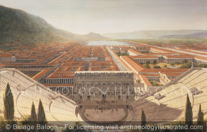 The Great Theater of Ephesus, the Harbor and City Center, Looking West Late Afternoon, 2nd Century AD - Archaeology Illustrated