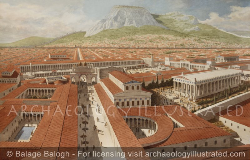 Corinth, Roman Period, The Lechaion Road (Harbor Road)Terminating at the Forum , the Civic and Religious Center, 2nd Century AD - Archaeology Illustrated