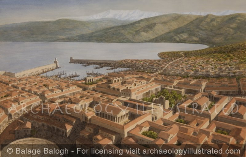 Roman Berytus, Today's Beirut, The City Center and Harbor, 2nd Century AD, Looking Northeast,  Morning Light - Archaeology Illustrated