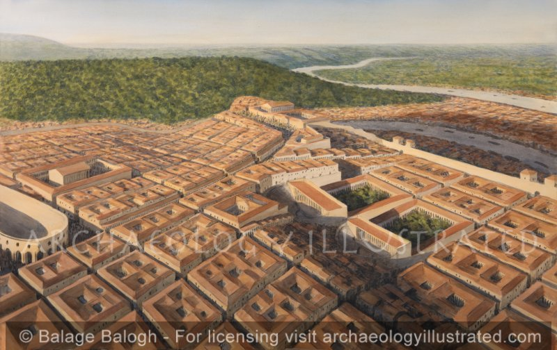 Roman Lugdunum, today's Lyon, on the confluence of the Rhone and the Saone Rivers, 2nd century AD, Looking Northeast - Archaeology Illustrated