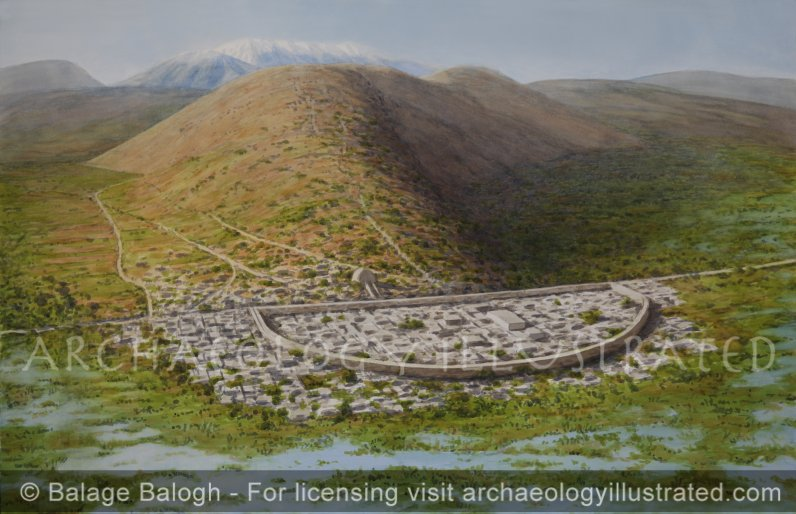 Orchomenos, Greece, Mycenaean Period, Looking West, 15-13th century BC - Archaeology Illustrated