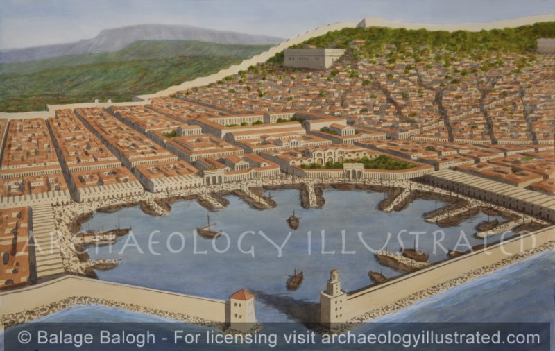 Smyrna, Roman Period, City Center, Forum and Harbor, 2nd Century AD, Facing Southeast - Archaeology Illustrated